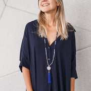 Woman wearing Blue Gemstone Mala, Manipura - Handmade in Amsterdam