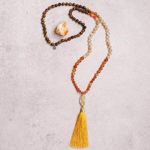 Autumn Love Gemstone Mala, YELLOW, BROWN, Manipura, Handmade Amsterdam