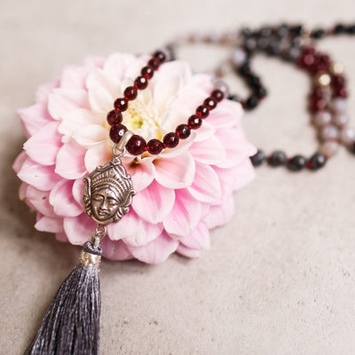 Power of Goddess Kali Gemstone Mala - Handmade with 108 Mala Beads by Manipura