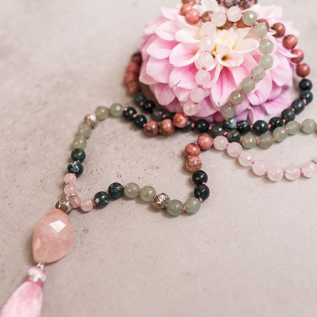 Rose Quartz, Rhodonite, Green Agate and Jade Gemstone Mala, Manipura - Handmade in Amsterdam