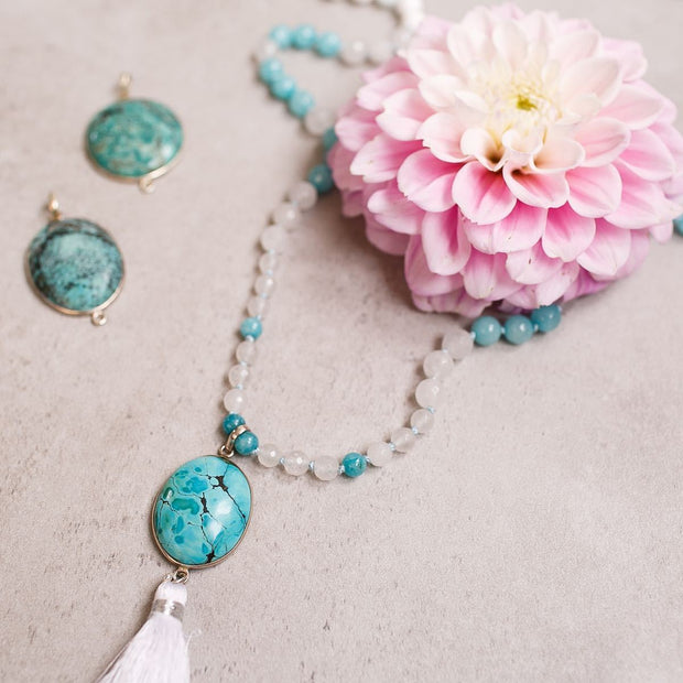 Turquoise pendant wrapped in silver Gemstone Mala, Manipura - Handmade in Amsterdam