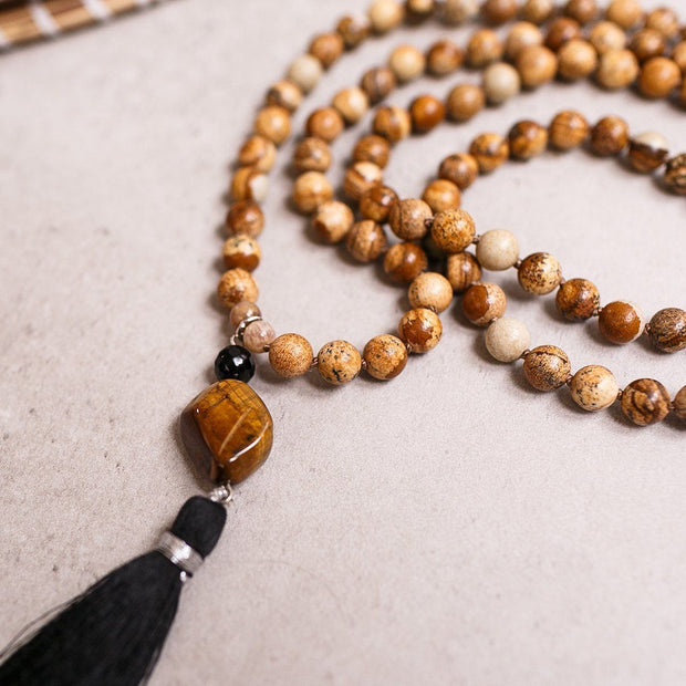 Brown Picture Jasper, Black Onyx and Tiger Eye beads Gemstone Mala, Manipura - Handmade in Amsterdam