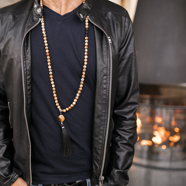 Man with Black Jacket wearing brown Jasper beads Gemstone Mala, Manipura - Handmade in Amsterdam