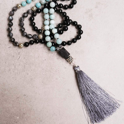 Strength & Elegance Gemstone  Mala - Handmade with 108 Mala Beads by Manipura