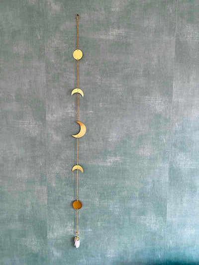 Moon Cycle Wall Garland Sling with a Crystal Cluster Pendant (5 moon phases)