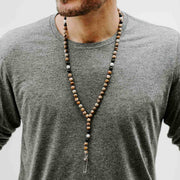 Natural Calm Tie Mala with Jasper and Crystal Pendant