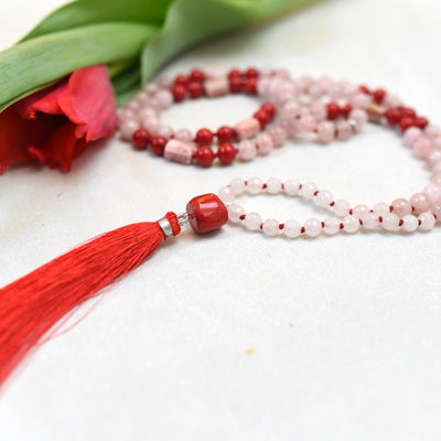 Rose & Red Heart Gemstone Mala with 108 Quartz and Coral beads - Handmade with 108 Mala Beads by Manipura