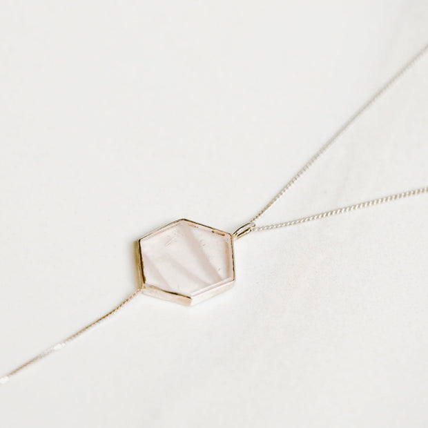 Rose Quartz Hexagon Silver Tie Necklace by Manipura