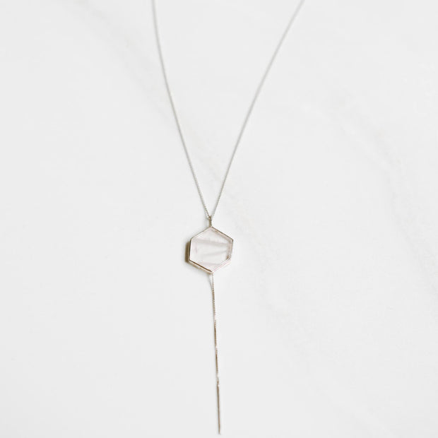 Rose Quartz Hexagon Silver Tie Necklace Manipura