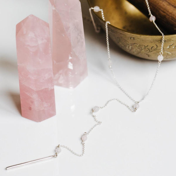 Rose Quartz Tie Silver Necklace - Handmade in 925 Sterling Silver by Manipura