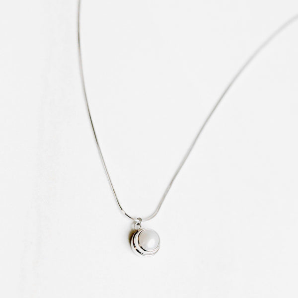 White Pearl Pendant Silver Necklace - Handmade in 925 Sterling Silver by Manipura