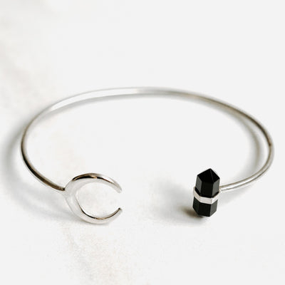 Silver Bangle with Obsidian Crystal and Moon by Manipura