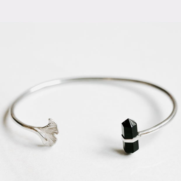 Silver Bangle with Obsidian Ginkgo Flower by Manipura