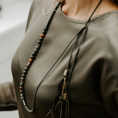 Unakite Boho necklace by Manipura on a lady with Silk Green top