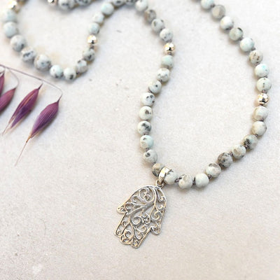 Silver Hamsa Gemstone Mala with 108 Brushed Kiwi Jasper Beads - Handmade with 108 Mala Beads by Manipura