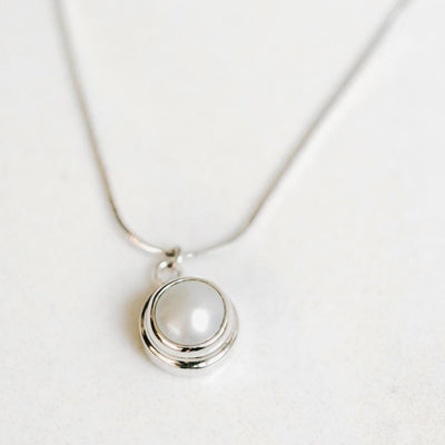 White Pearl Pendant Silver Necklace - Handmade in 925 Sterling Silver by Manipura Malas at