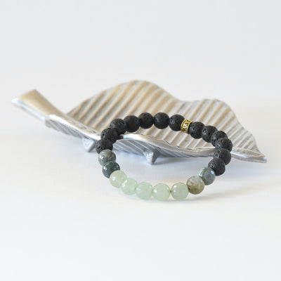 'Lush Earth' Jade, Agate, and Lava Gemstone Bracelet by Manipura Malas at 35.00