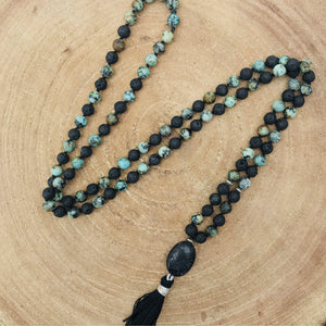 Black and Green man Gemstone Mala, Manipura - Handmade in Amsterdam