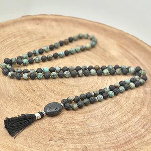 Black Lava and Afrikan Turquoise Man Gemstone Mala, Manipura - Handmade in Amsterdam