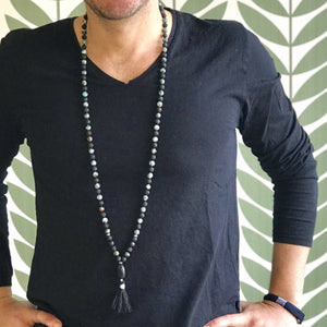 Man wearing Gemstone Mala, Manipura - Handmade in Amsterdam