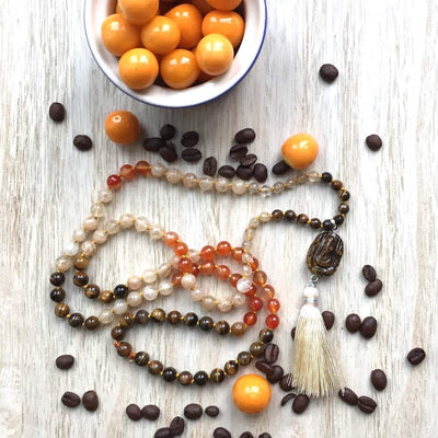 Carnelian, Citrine and Tiger Eye beads Gemstone Mala, Manipura - Handmade in Amsterdam