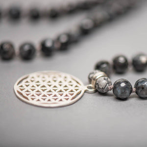 Flower of Life Man Gemstone Mala, Manipura - Handmade in Amsterdam