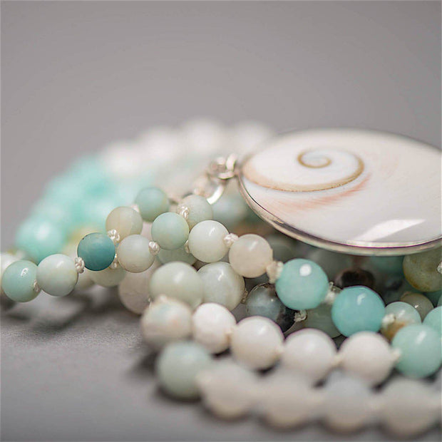 Eye of Shiva Gemstone Mala, Amazonite beads Manipura - Handmade in Amsterdam