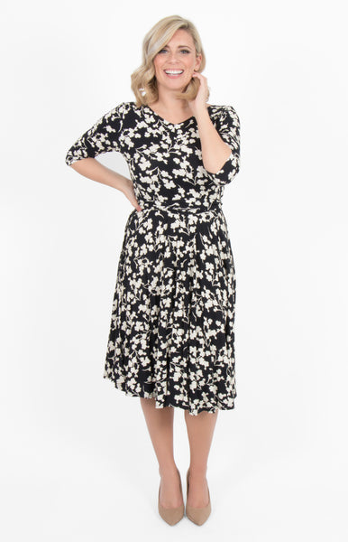 emily reversible wrap dress in black floral