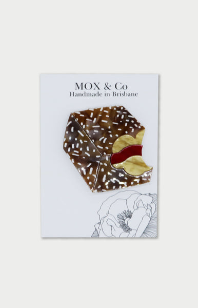 mox & co bite me brooch lamington