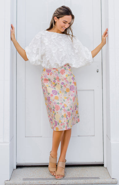 rose skirt in cream flowers