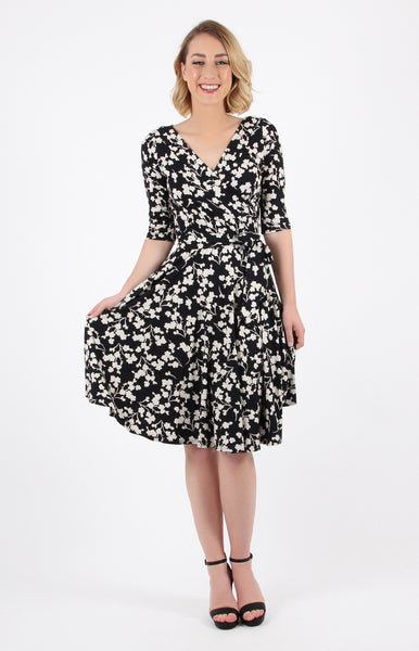 emily wrap dress in black floral