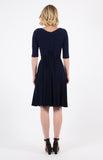 emily wrap dress in navy plain