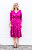 stace dress in fuschia origami