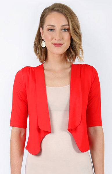 bamboo cardie in red
