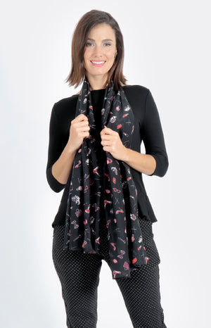 printed silk cotton scarf in black salon