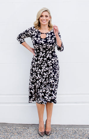 stace dress in black blossom