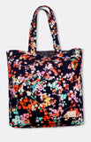 reversible tote in navy floral
