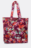 reversible tote in plum floral