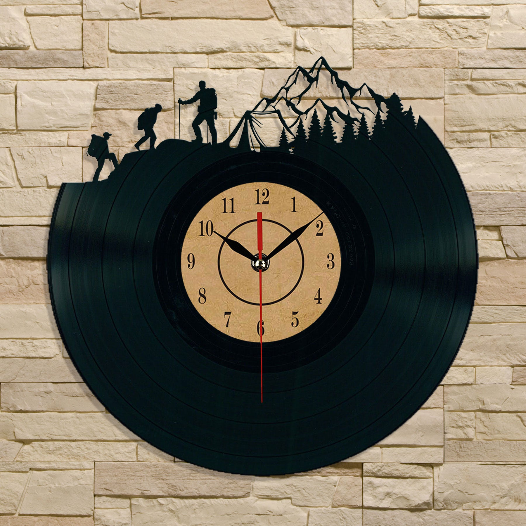 Hiking Mountaineering Camping Vinyl Record Wall Clock