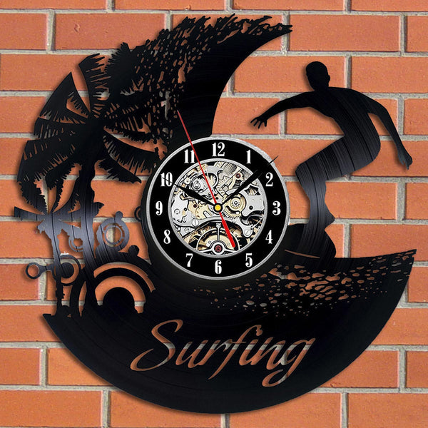 Surfing vinyl record wall clock