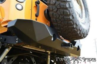 JK Jeep Poison Spyder RockBrawler II Rear Bumper with Integrated Single-Action Tire Carrier (Black) - 17-62-020P1