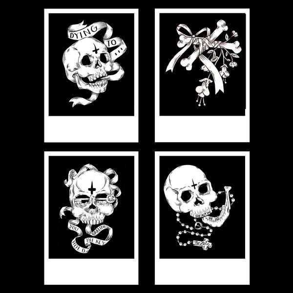 Skulls and bones- Postcard sized print pack