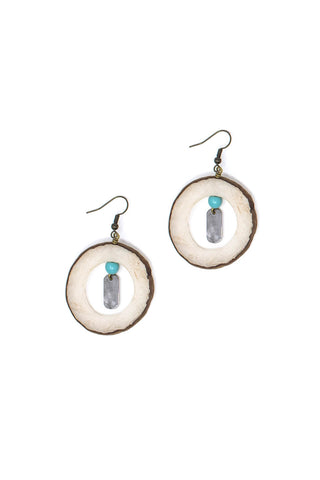 Vegetable ivory earrings in turquoise
