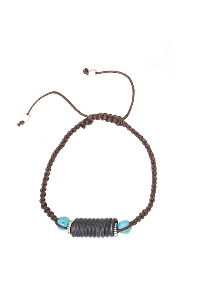 Snare and cord bracelet in turquoise