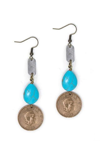 Turquoise and bronze earrings