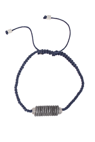 Snare and cord bracelet in navy womens