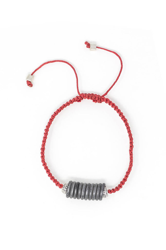 Snare and cord bracelet in red