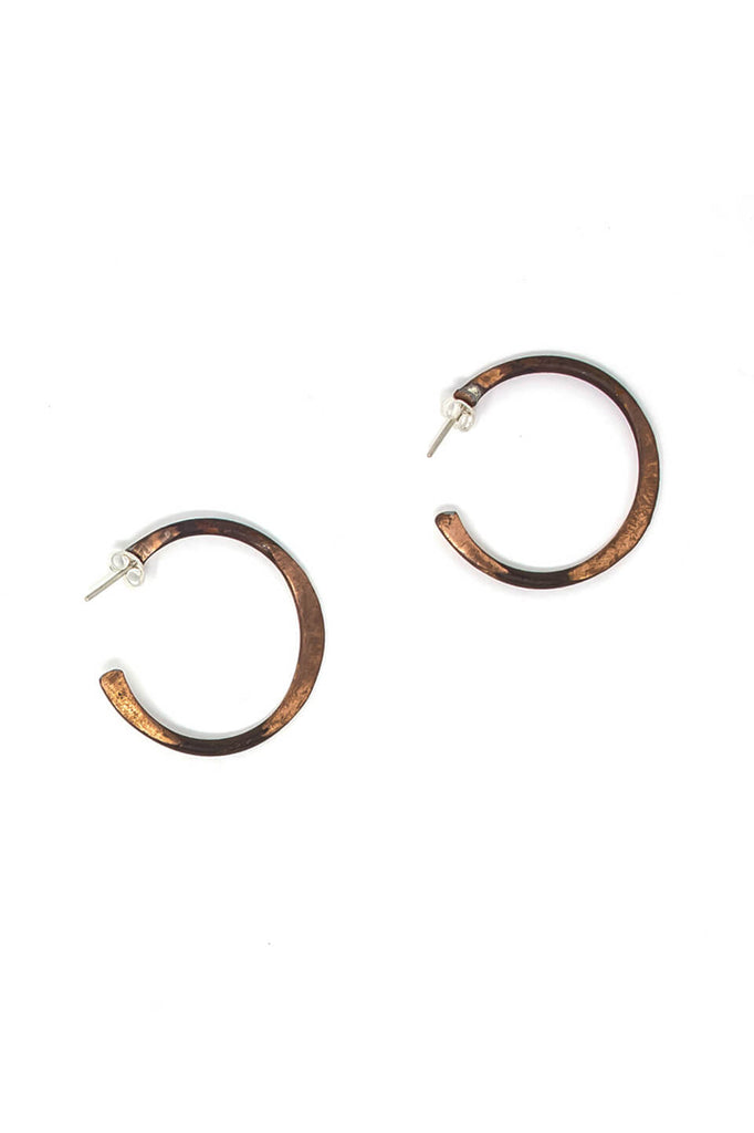 Copper circle earrings