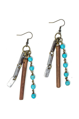 Organic element snare earrings