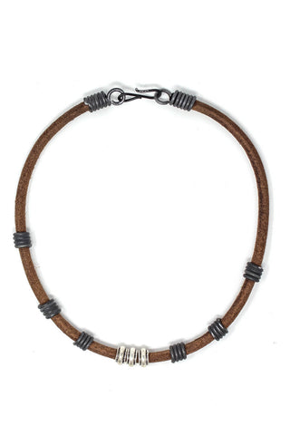 Unisex snare necklace with silver